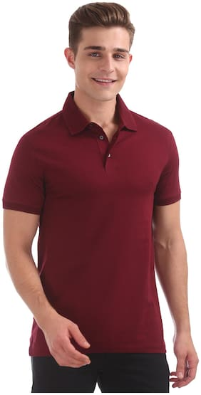 Men Polo Neck Solid T-Shirt
