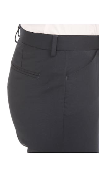 Blue Mid Woman Slim Polyester Trousers Rise Fit Arrow Tapered zfZCqwC4