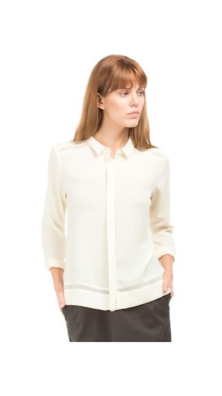 Arrow Woman White Polyester Mesh Panelled Boxy Shirt