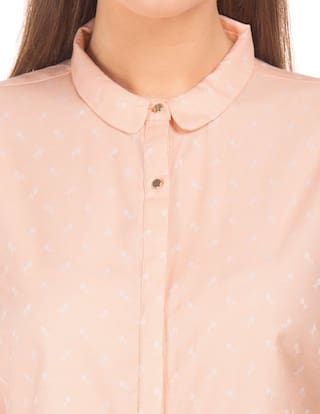 Pink Arrow Club Jacquard Shirt Woman Cotton Collar zFqwaA5F