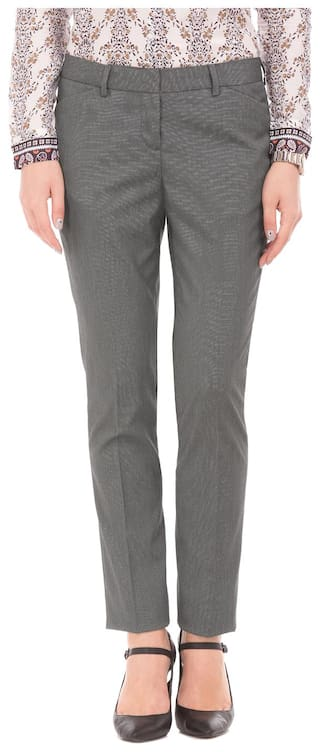 Arrow Woman Black Polyester Patterned Weave Regular Fit Trousers