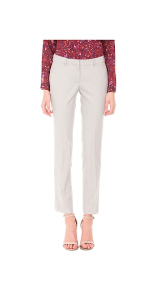 Woman Arrow Grey Curvy Trousers Fit Polyester Solid gqqZnr8d