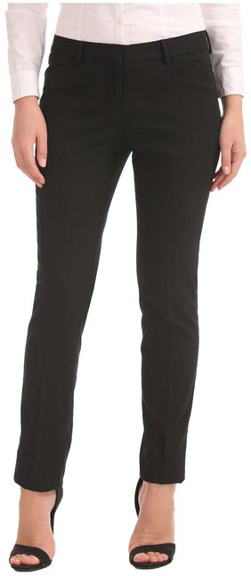 Arrow Woman Black Polyester Low Rise Slim Tapered Fit Trousers