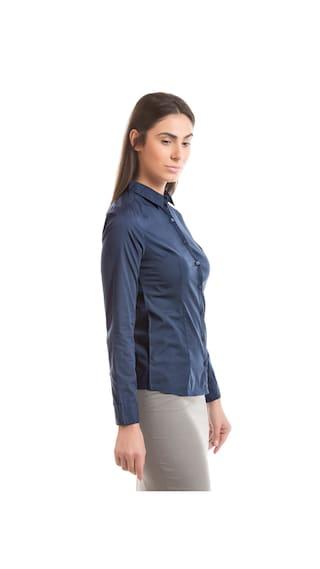 Arrow Solid Blue Cotton Lycra Shirt Cotton Woman rqTtPpwHr