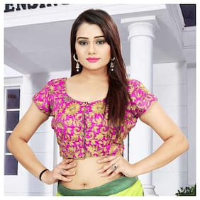 Arsh Impex Pink Dupion Embroidery Unstitched  Blouse Material