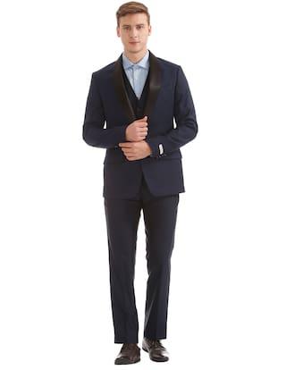 Arvind Men Rayon Regular fit Suit - Blue