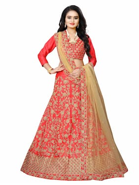 Arya Dress Maker Women Satin Party Wear Lehengha Choli With Embrodariy Work (Red)
