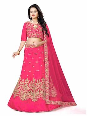 Arya Dress Maker Women Silk Party Wear Lehengha Choli With Embrodariy Work (Pink)