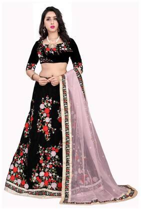 Arya Dress Maker Women Velvet Party Wear Lehengha Choli With Embrodariy Work (Black)