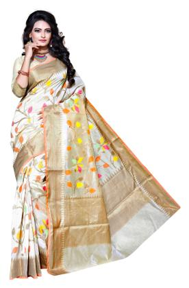 Asavari Silk Cream Chanderi Cotton Antiue Zari & Meenakari Work Banarasi Saree