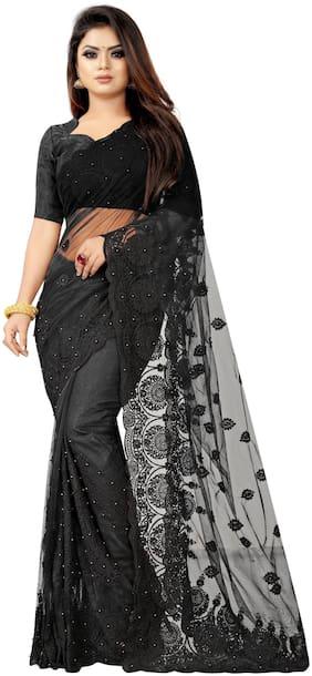 Aspora Net Black Embroidered Designer Saree  For Women