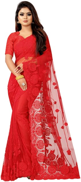 Aspora Net Red Embroidered Designer Saree  For Women