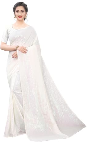 Aspora  Women Georgette Embellished Cream Designer Saree With Blouse