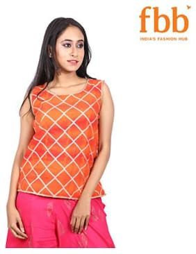 Women Checked Round Neck Top