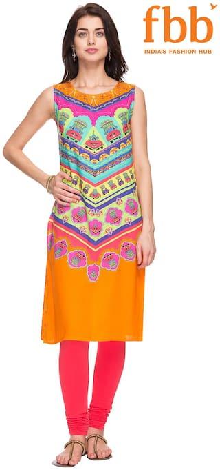 Ateesa Women Blended Printed Straight Kurta - Orange