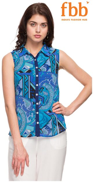 Ateesa Printed Blue Women's Top