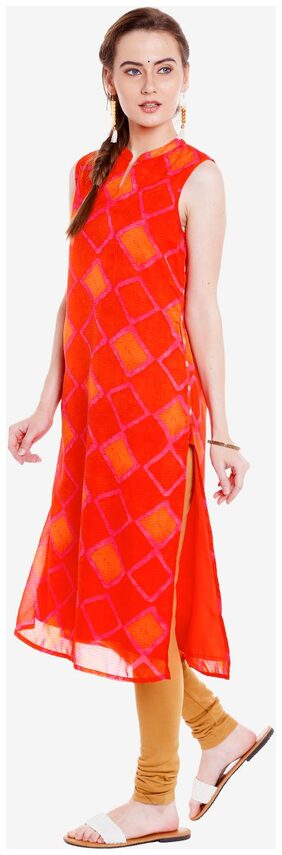 Ateesa Women Viscose Printed Straight Kurta - Orange