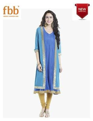 Ateesa Solid Slit Long Womens Blue Shrug