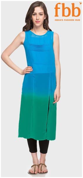 Ateesa Women Polyester Solid Straight Kurta - Blue