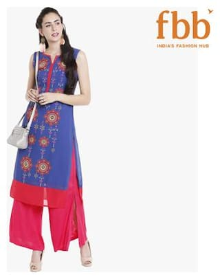 Ateesa Women Blue Printed Straight Kurta
