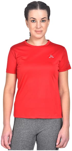 Athliv Women Solid Sports T-Shirt - Red