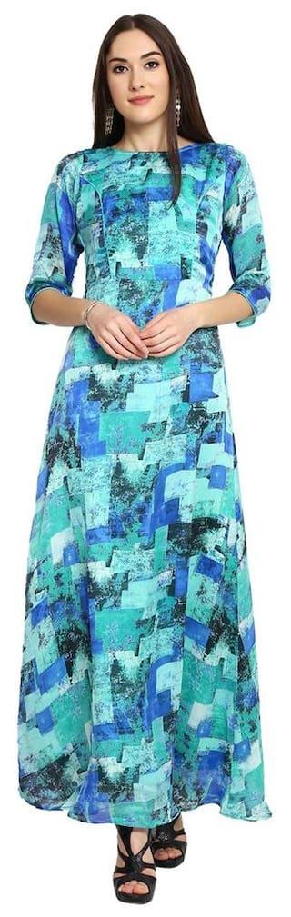 Aujjessa Sea Green Printed Maxi Dress