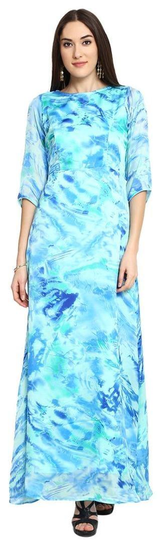Blue Dress Aujjessa Maxi Sea Printed O4I4zw5q