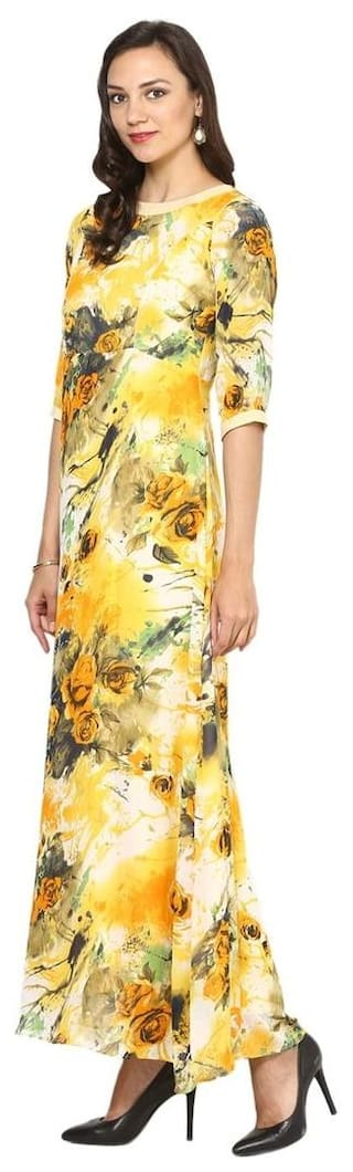 33de46b3b08a Buy Aujjessa Yellow Multi A-Line Maxi Dress Online at Low Prices in ...