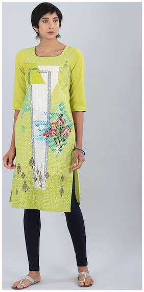 Aurelia Women Blended Printed Straight Kurta - Green