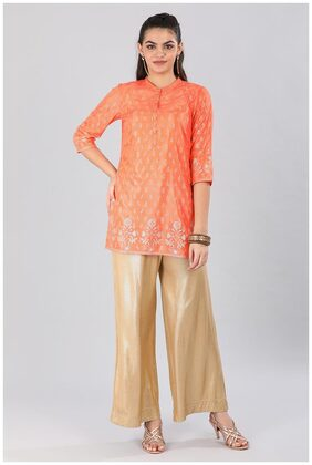 Aurelia Women Blended Printed Straight Kurta - Orange