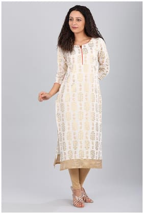 Aurelia Women Blended Printed Straight Kurta - White