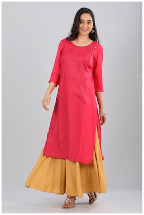 Aurelia 3/4th Sleeves Pink Round Neck Printed Kurta