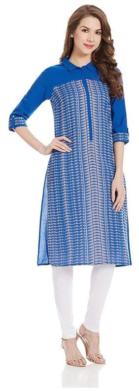 Aurelia Women Cotton Printed Straight Kurta - Blue