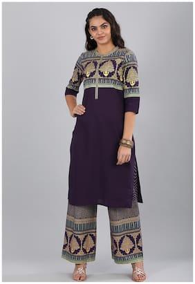Aurelia Women Cotton Printed Straight Kurta - Purple