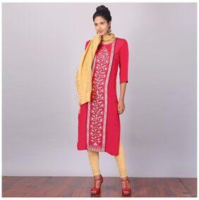 Aurelia Women Viscose Printed Straight Kurta - Red