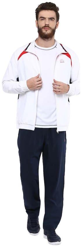 Aurro Men Polyester Blend Track Suit - White