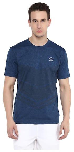Aurro Men Round Neck Sports T-Shirt - Blue