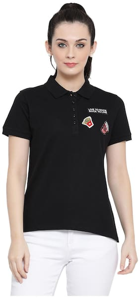 Austin Wood Women Solid Polo neck T shirt - Black