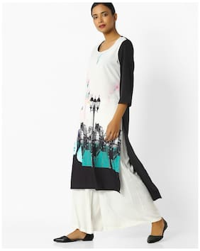 Avaasa By Reliance Trends Women Polyester Printed Ymetrical Kurta White