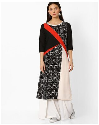 AVAASA By Reliance Trends Women Crepe Printed Straight Kurta - Black