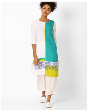 Avaasa By Reliance Trends Women Crepe Colorblocked Straight Kurta Multi