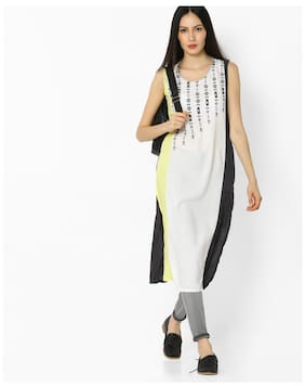Avaasa By Reliance Trends Women Rayon Printed Straight Kurta White