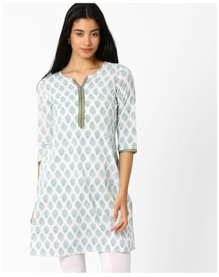 AVAASA MIX N' MATCH By Reliance Trends Women Blended Printed Straight Kurta - Blue