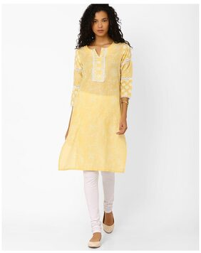 AVAASA MIX N' MATCH By Reliance Trends Women Blended Floral Straight Kurta - Yellow