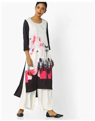 AVAASA MIX N' MATCH By Reliance Trends White Polyester Kurtas