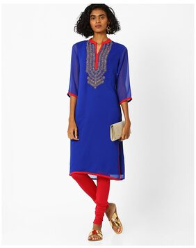 AVAASA MIX N' MATCH By Reliance Trends Women Georgette Embroidered Straight Kurta - Blue