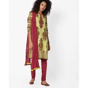 AVAASA SET By Reliance Trends Olive Women Regular Salwar Suit Set