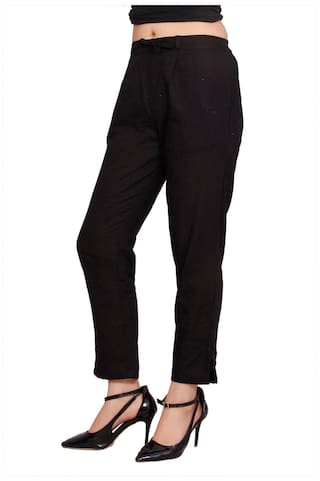 Avanya Cigarette Black Slub Women's Pant Solid Cotton Colour 7w7v8Zrq
