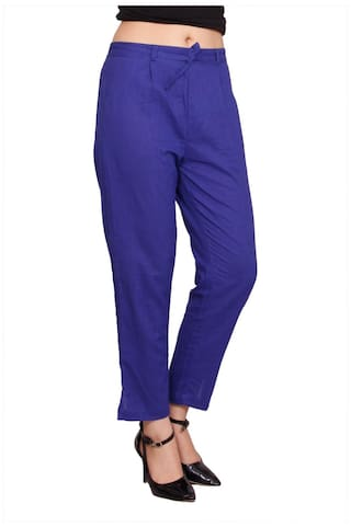 Pant Blue Slub Colour Cotton Women's Solid Avanya Cigarette PFqaF