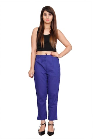 Avanya Blue Colour Solid Cotton Slub Women's Cigarette Pant